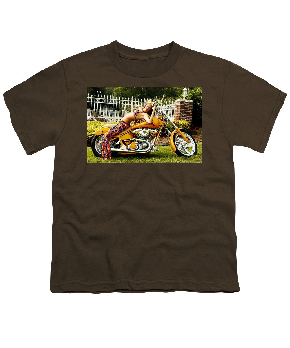 Clay Youth T-Shirt featuring the photograph Bikes And Babes by Clayton Bruster