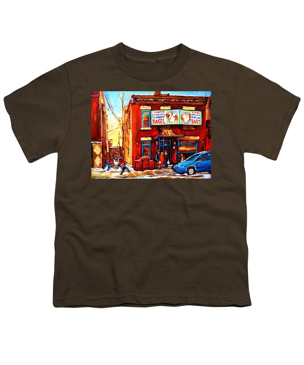 Hockey Youth T-Shirt featuring the painting Fairmount Bagel In Winter by Carole Spandau