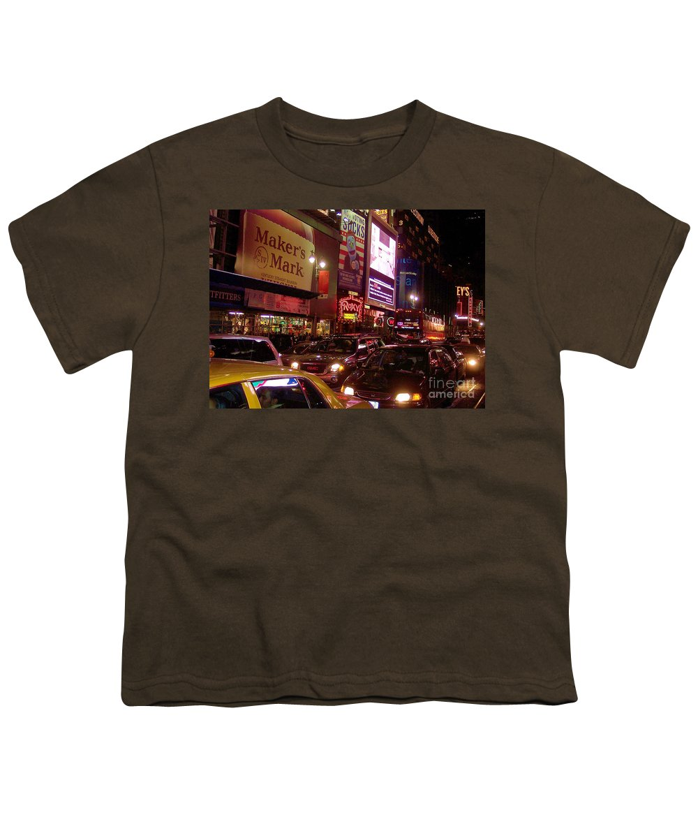 New York Youth T-Shirt featuring the photograph Times Square Night by Debbi Granruth