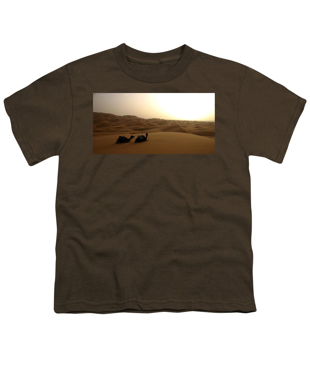 Camel Youth T-Shirt featuring the photograph Two Camels At Sunset In The Desert by Ralph A Ledergerber-Photography