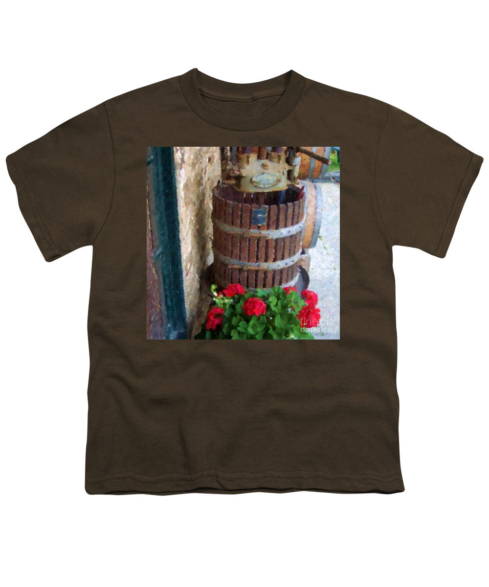 Geraniums Youth T-Shirt featuring the photograph Wine And Geraniums by Debbi Granruth