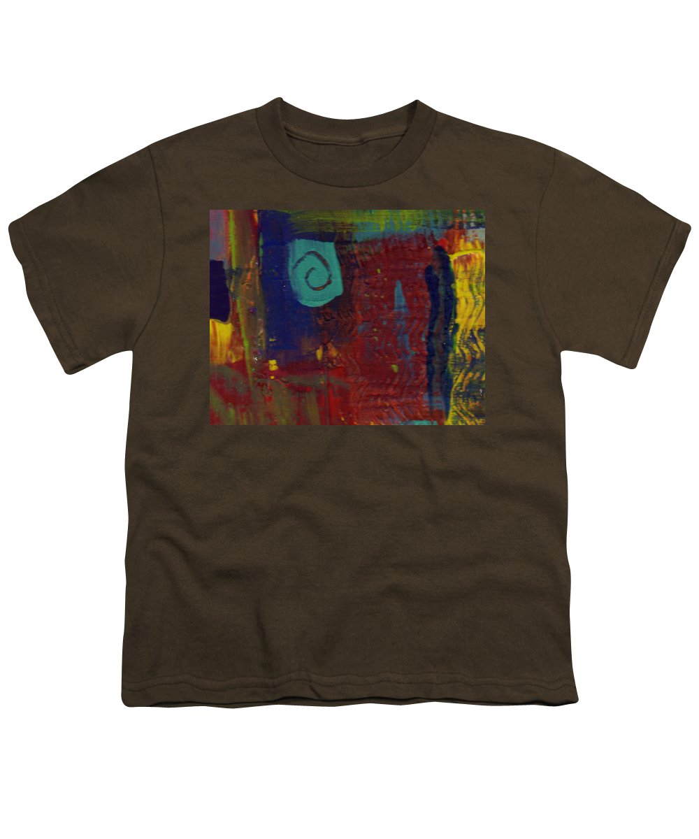 Abstract Youth T-Shirt featuring the painting Abstract With Teal Spiral by Wayne Potrafka