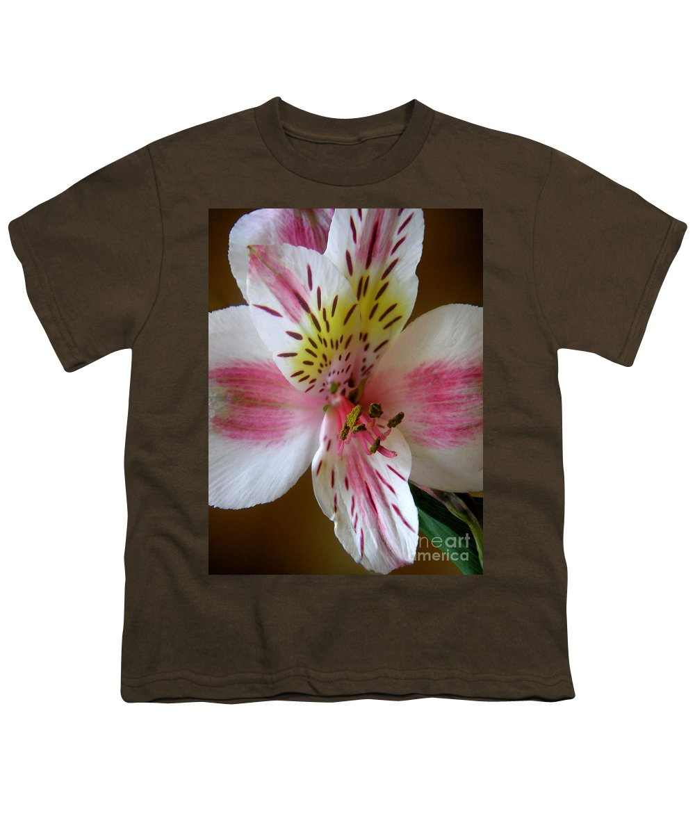 Nature Youth T-Shirt featuring the photograph Alstroemerias - Close by Lucyna A M Green