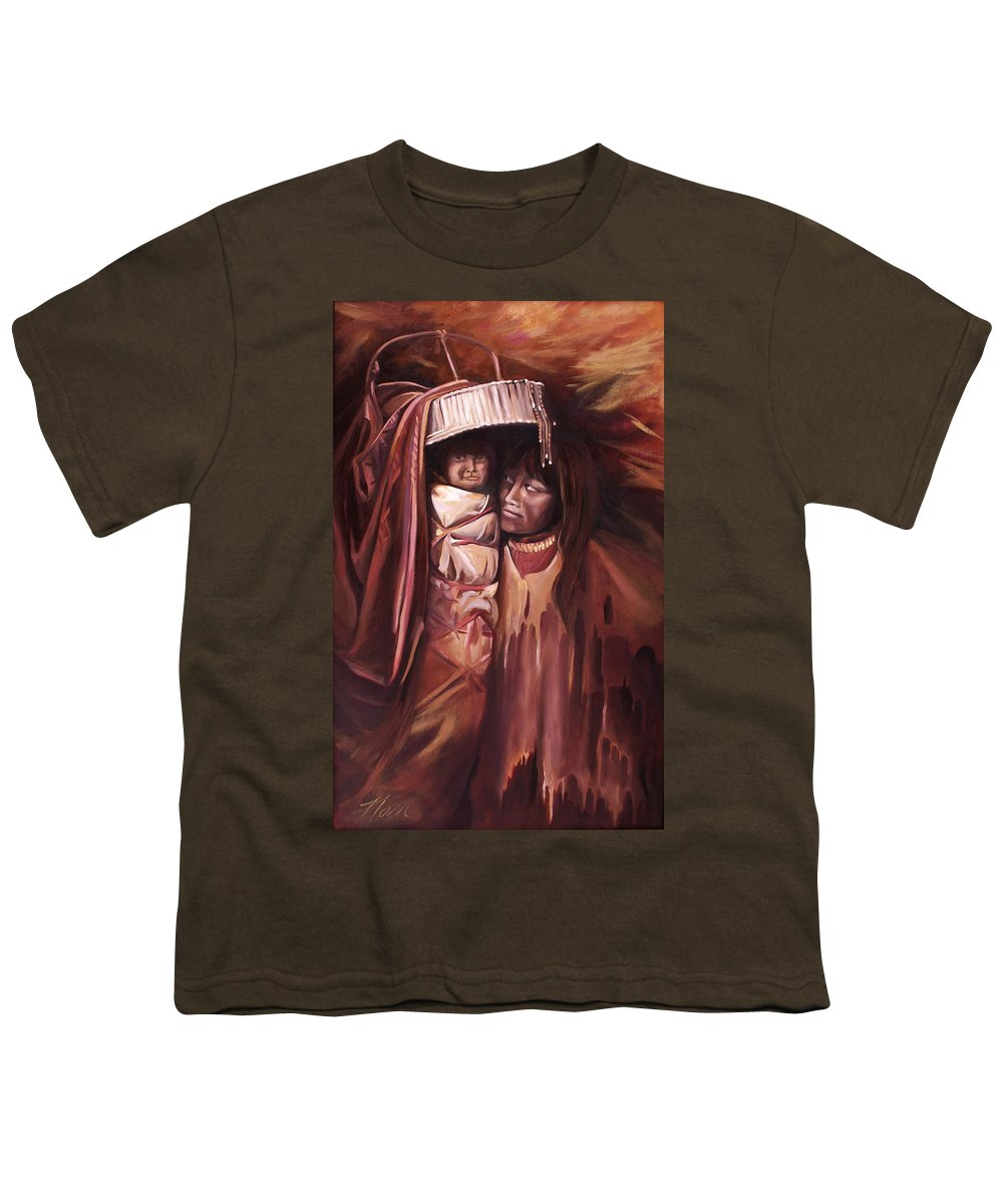 Native American Youth T-Shirt featuring the painting Apache Girl And Papoose by Nancy Griswold