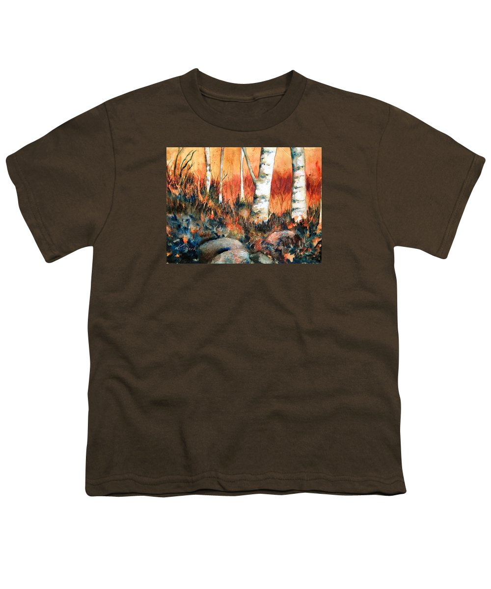 Landscape Youth T-Shirt featuring the painting Autumn by Karen Stark