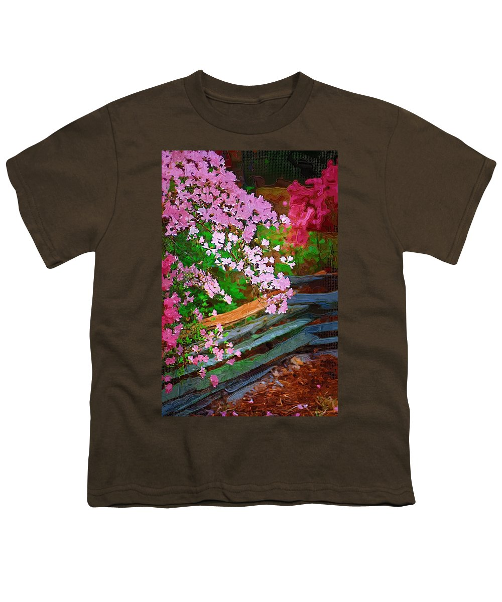 Flowers Youth T-Shirt featuring the photograph Azaleas Over The Fence by Donna Bentley