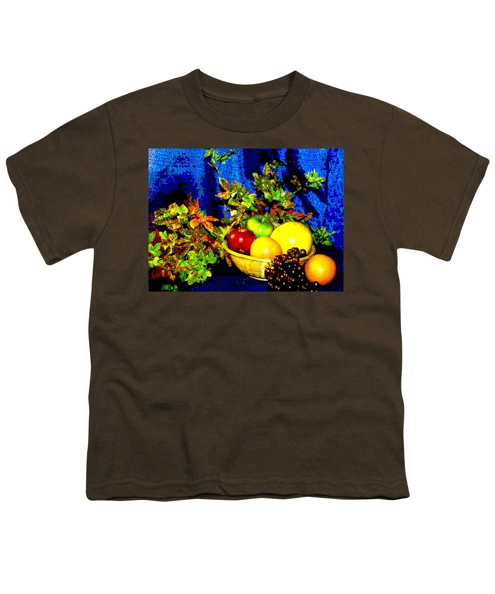 Fruit Youth T-Shirt featuring the photograph Basket With Fruit by Nancy Mueller