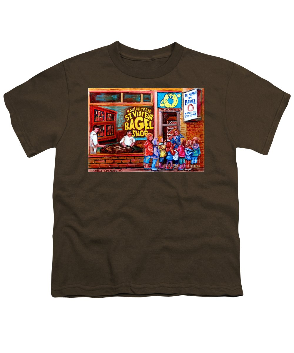 Children Youth T-Shirt featuring the painting Bet You Cant Eat Just One by Carole Spandau