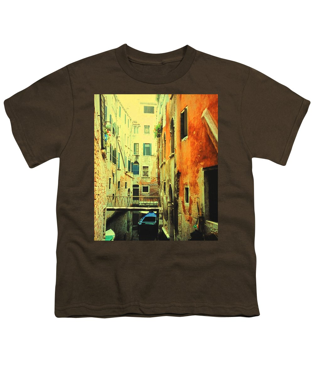 Venice Youth T-Shirt featuring the photograph Blue Boat In Venice by Ian MacDonald