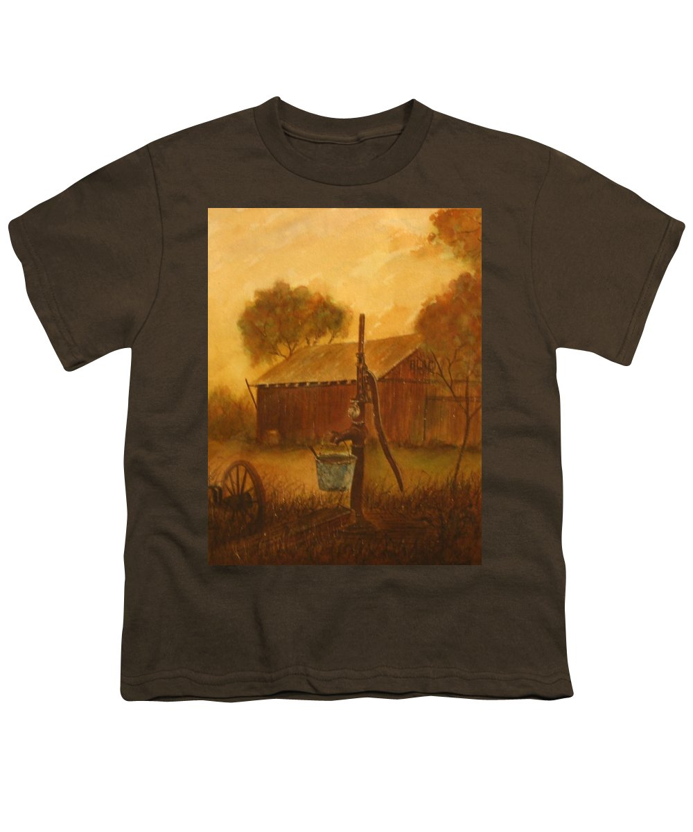 Barn; Bucket; Country Youth T-Shirt featuring the painting Blue Bucket by Ben Kiger