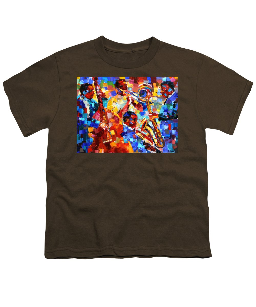 Jazz Youth T-Shirt featuring the painting Bold Jazz Quartet by Debra Hurd
