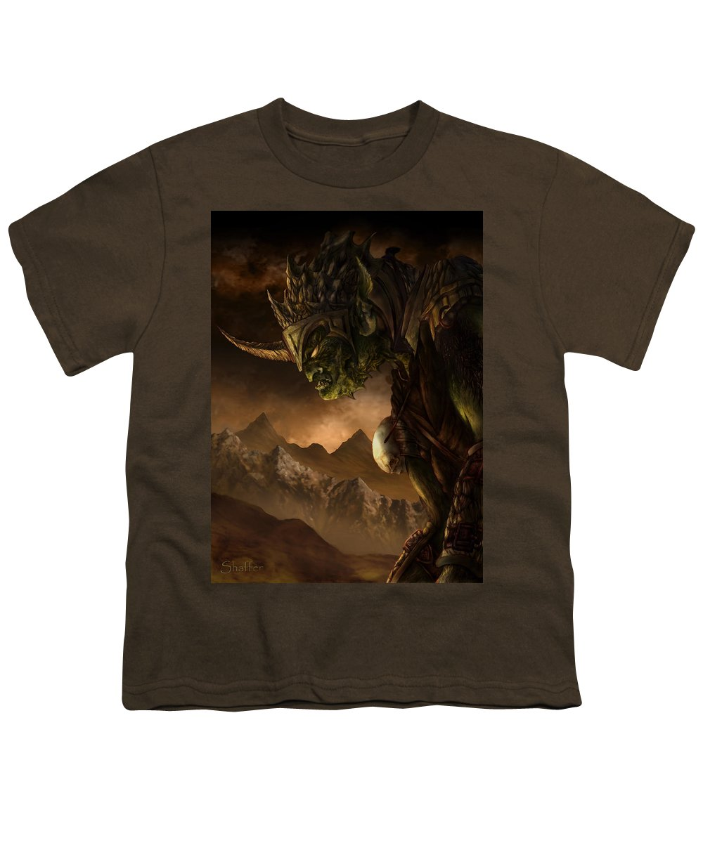 Goblin Youth T-Shirt featuring the mixed media Bolg The Goblin King by Curtiss Shaffer
