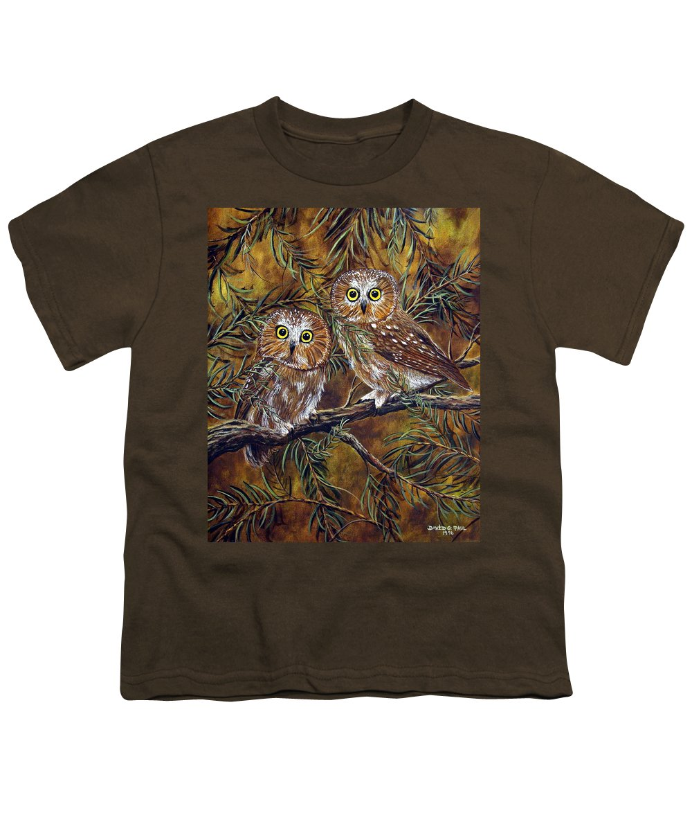 Owls Youth T-Shirt featuring the painting Branch Buddies by David G Paul