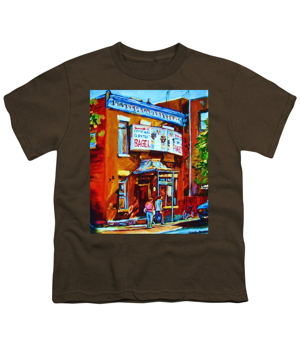 Fairmount Bagel Youth T-Shirt featuring the painting Breakfast At The Bagel Cafe by Carole Spandau