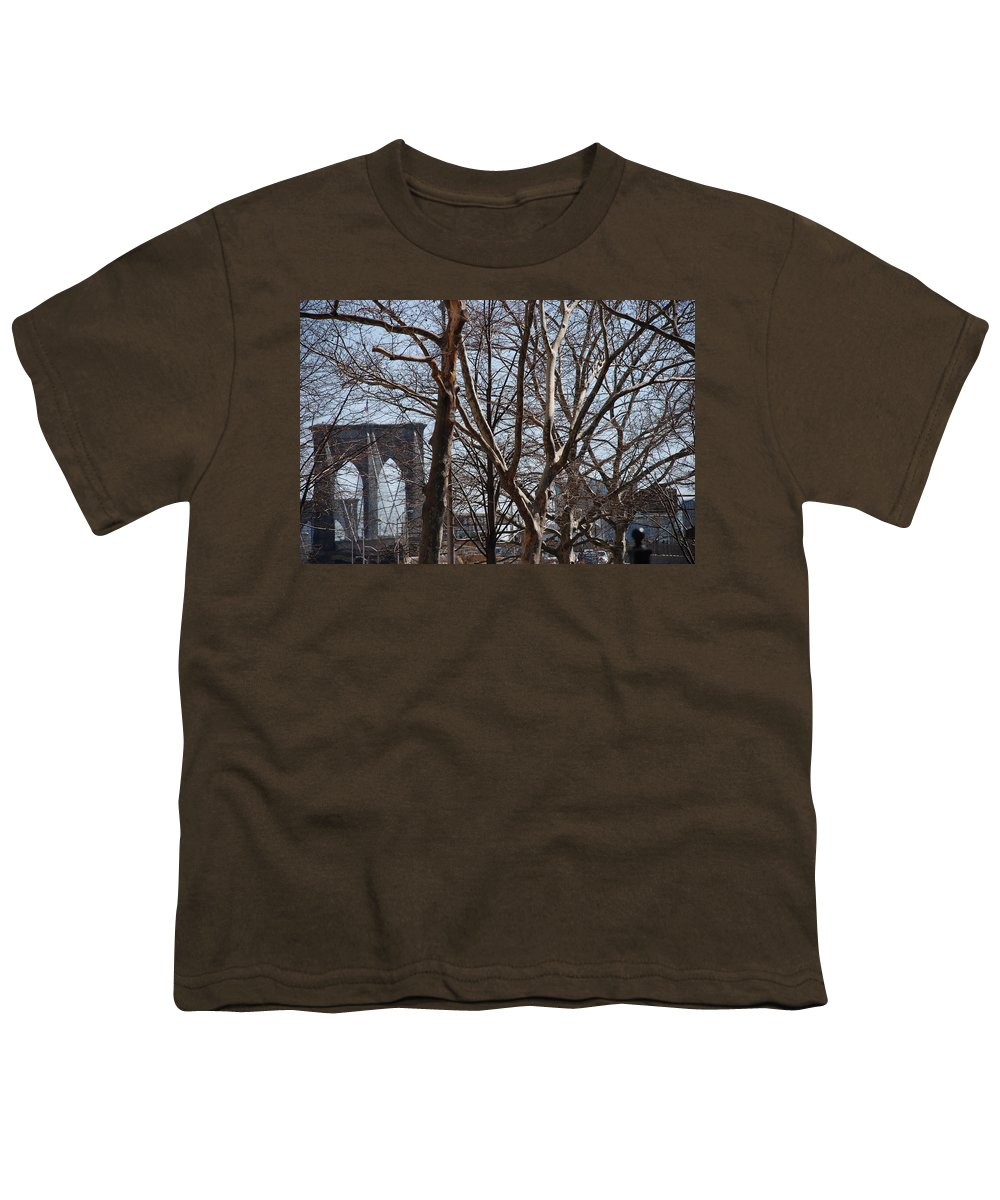 Architecture Youth T-Shirt featuring the photograph Brooklyn Bridge Thru The Trees by Rob Hans