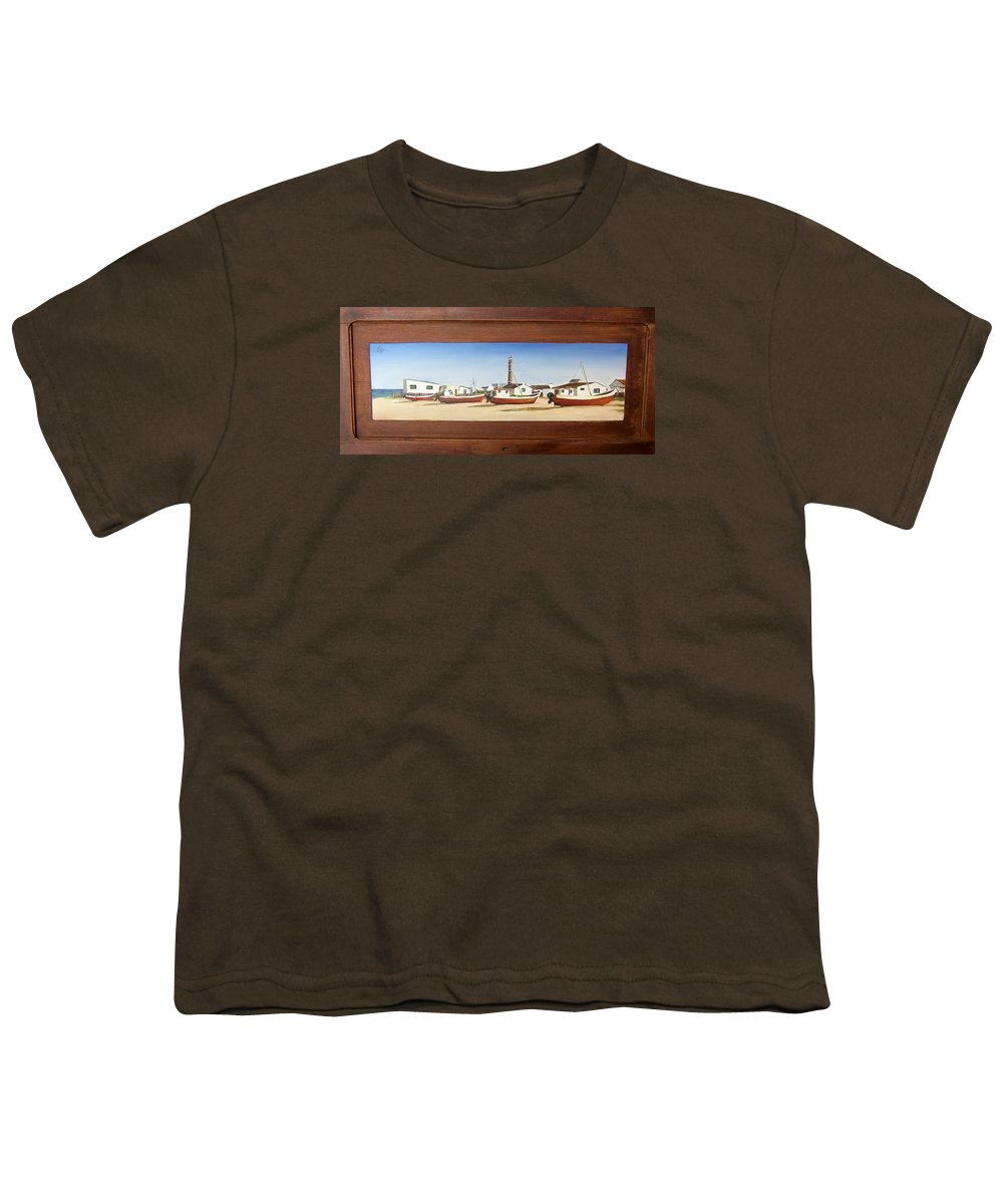 Landscape Seascape Uruguay Beach Boats Sea Lighthouse Youth T-Shirt featuring the painting Cabo Polonio 2 by Natalia Tejera