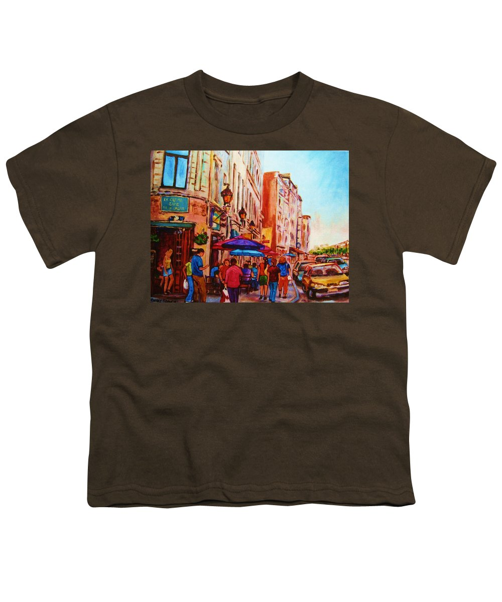 Montreal Youth T-Shirt featuring the painting Cafe Creme by Carole Spandau