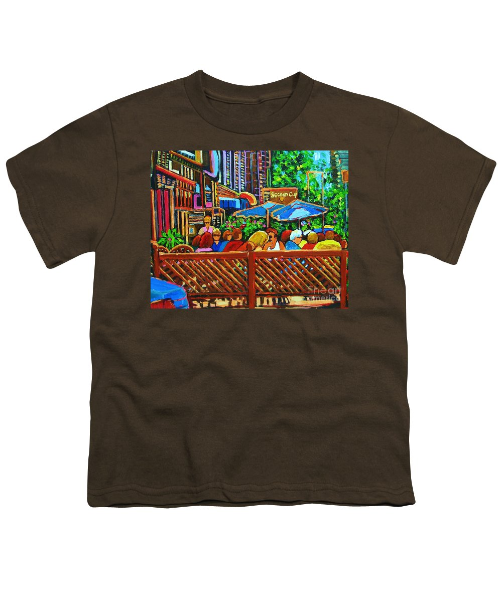 Cafes Youth T-Shirt featuring the painting Cafe Second Cup by Carole Spandau