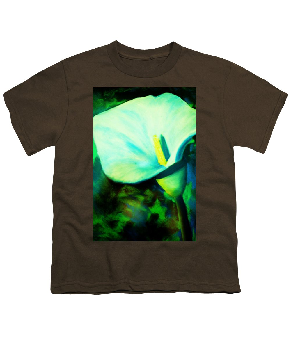 White Calla Lily Youth T-Shirt featuring the painting Calla Lily by Melinda Etzold