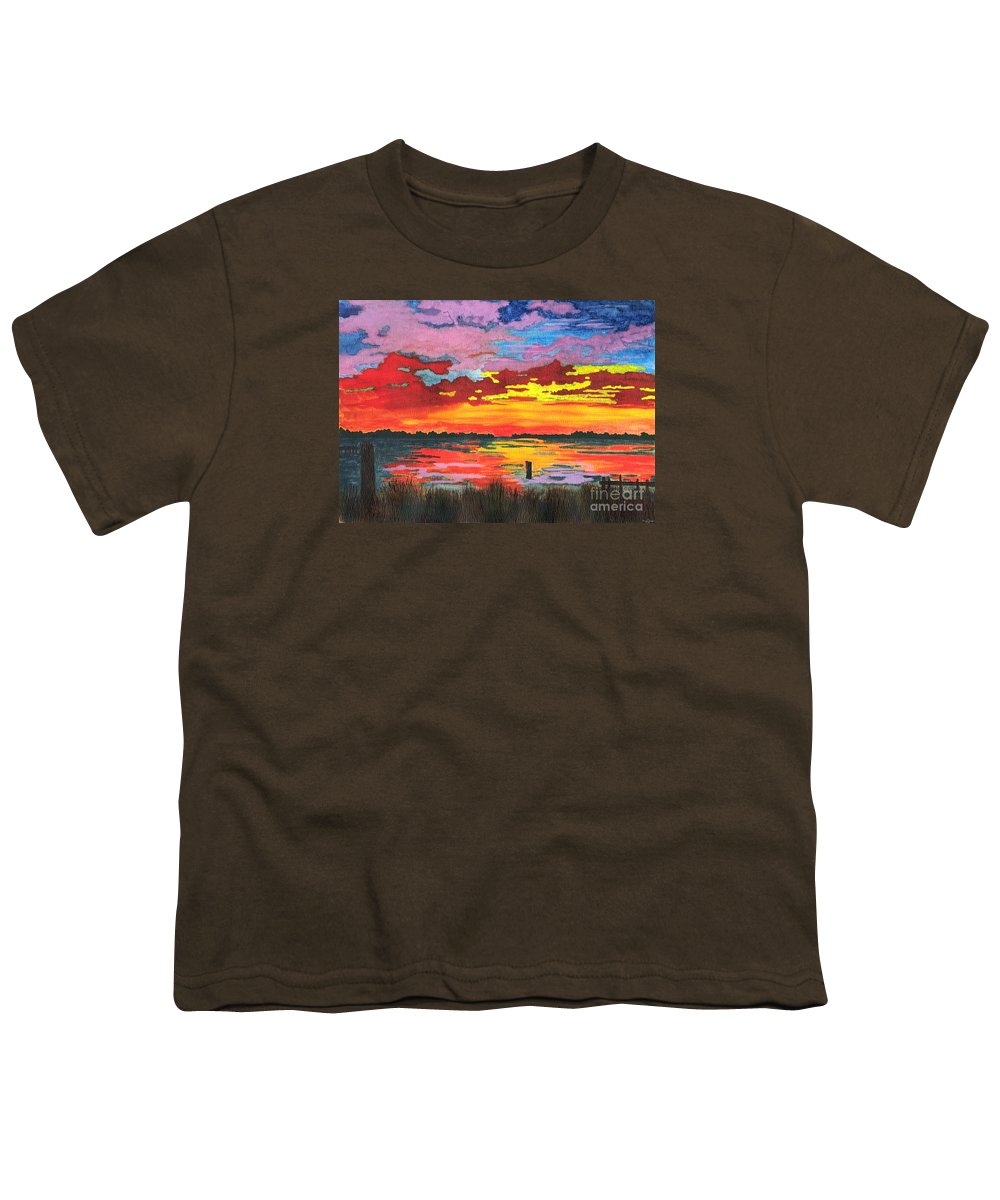 Original Painting Youth T-Shirt featuring the painting Carolina Sunset by Patricia Griffin Brett