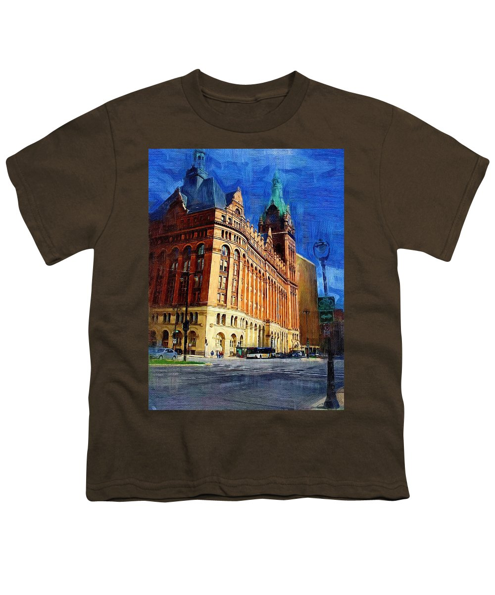 Architecture Youth T-Shirt featuring the digital art City Hall And Lamp Post by Anita Burgermeister