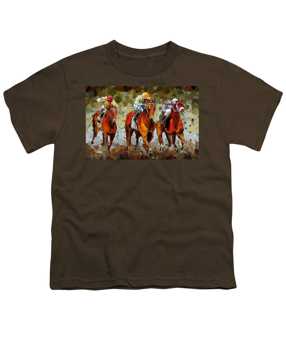 Horses Youth T-Shirt featuring the painting Close Race by Debra Hurd