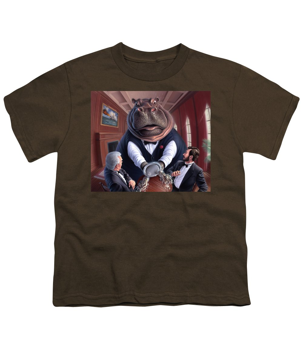 Hippo Youth T-Shirt featuring the painting Clumsy by Jerry LoFaro