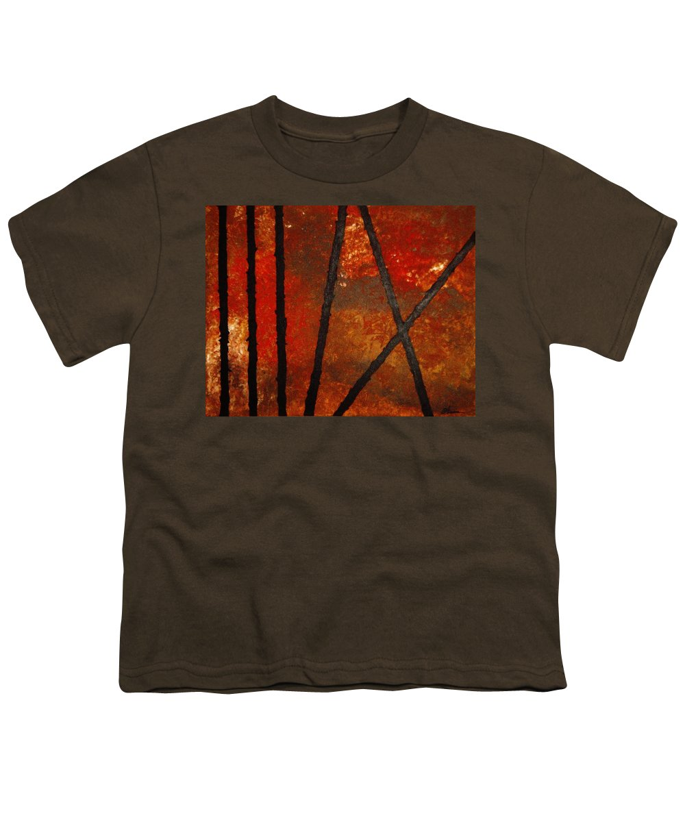 Original Abstract Acrylic Youth T-Shirt featuring the painting Coming Apart by Todd Hoover