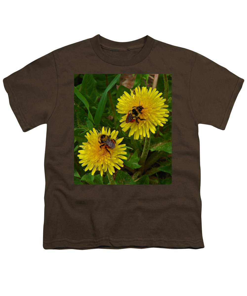 Dandelion Youth T-Shirt featuring the photograph Dandelions And Bees by Heather Coen
