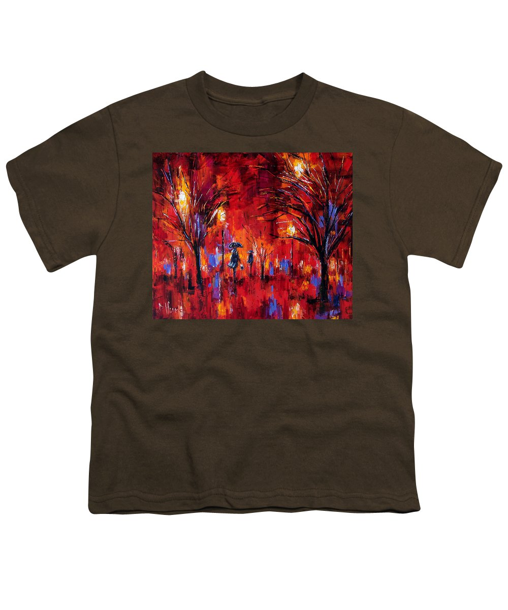 Umbrellas Youth T-Shirt featuring the painting Deep Red by Debra Hurd