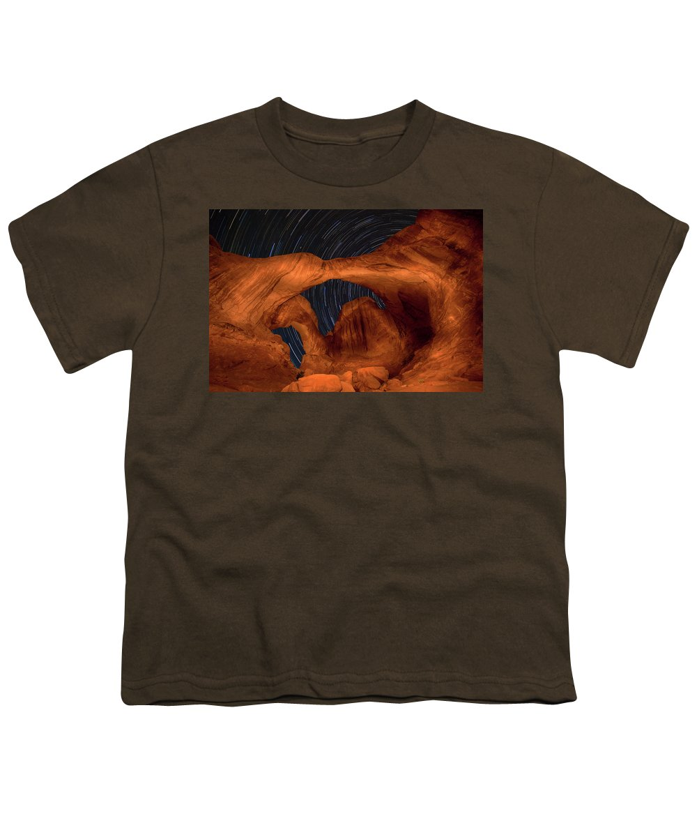 3scape Youth T-Shirt featuring the photograph Double Arch Star Trails by Adam Romanowicz
