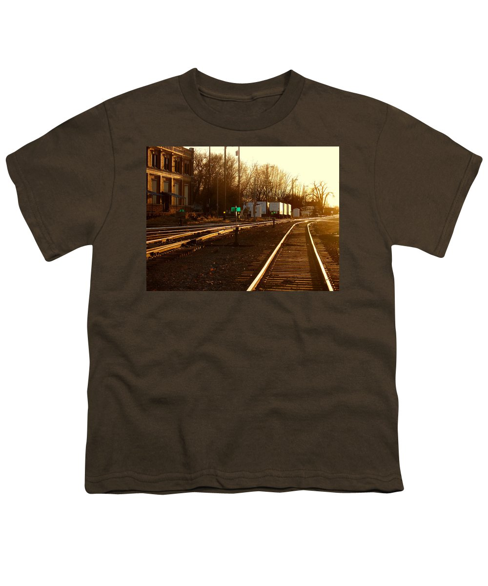 Landscape Youth T-Shirt featuring the photograph Down The Right Track by Steve Karol