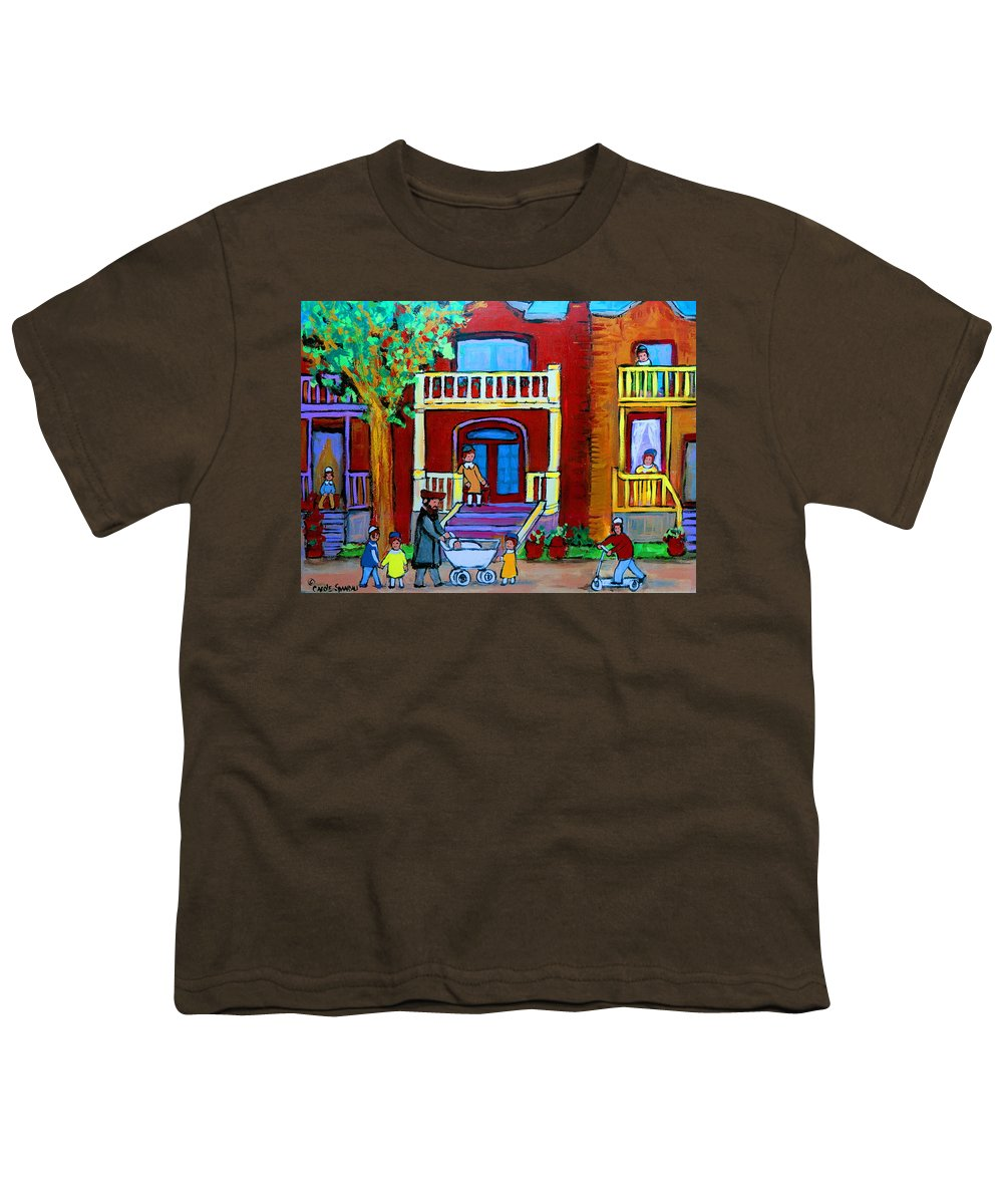 Judaica Youth T-Shirt featuring the painting Durocher Street Montreal by Carole Spandau