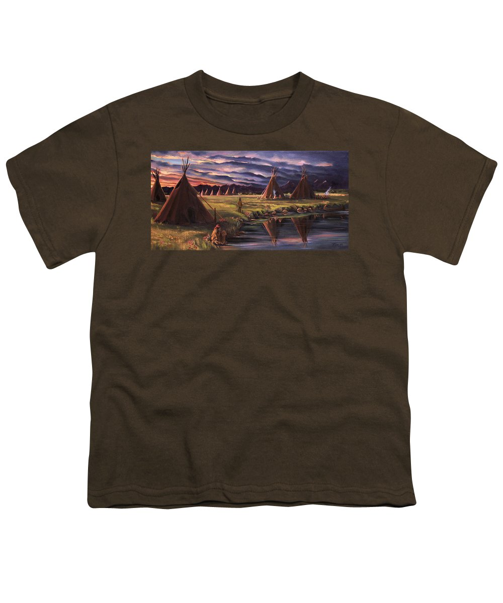 Native American Youth T-Shirt featuring the painting Encampment At Dusk by Nancy Griswold