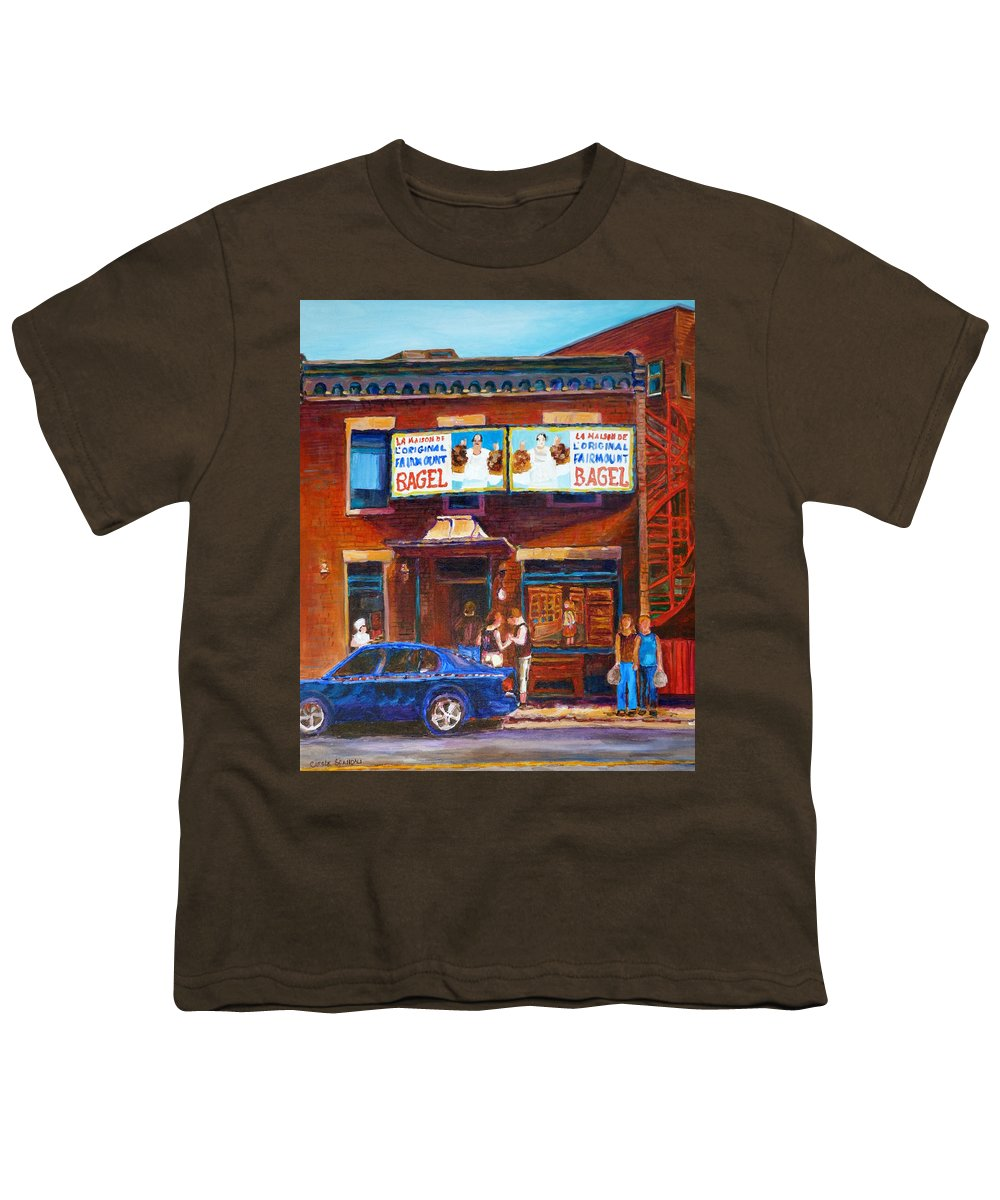 Fairmount Bagel Youth T-Shirt featuring the painting Fairmount Bagel With Blue Car by Carole Spandau