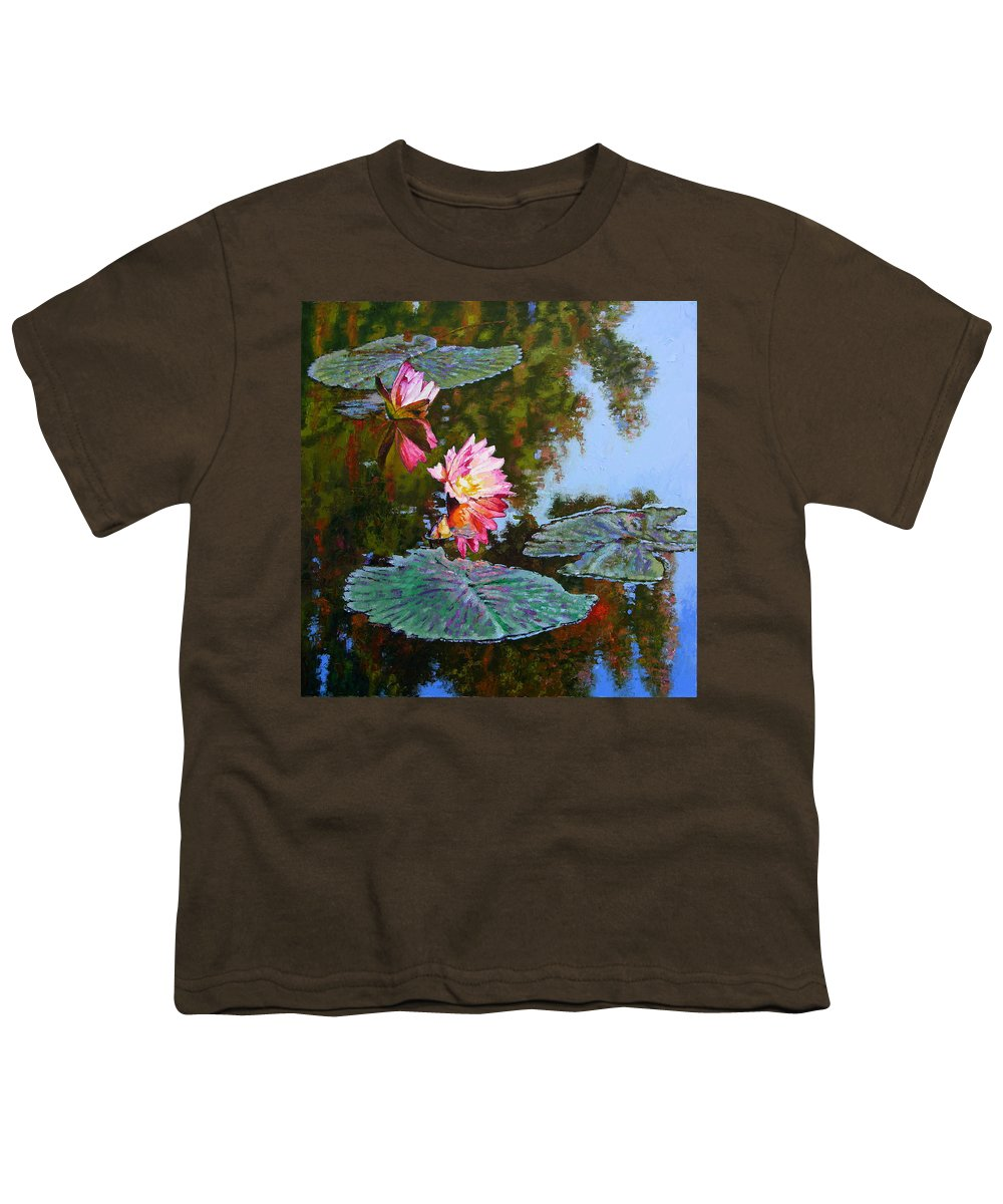 Water Lily Youth T-Shirt featuring the painting Fall Glow by John Lautermilch