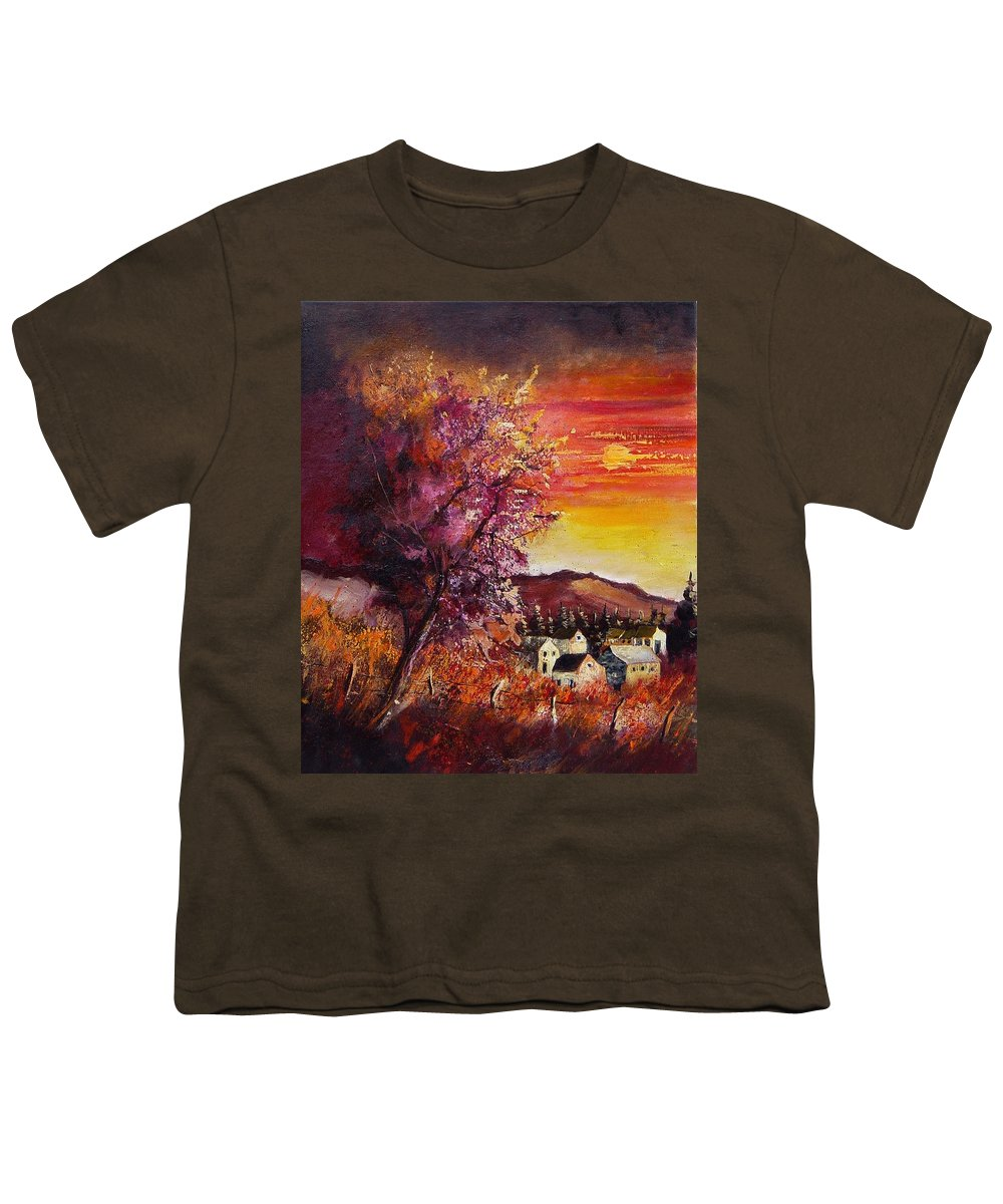 Autumn Youth T-Shirt featuring the painting Fall In Villers by Pol Ledent