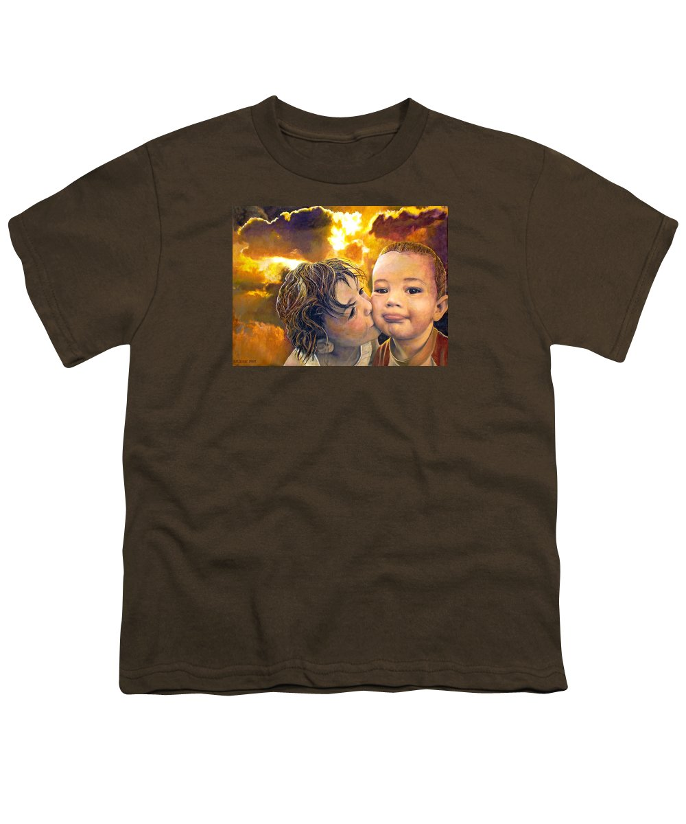 Children Youth T-Shirt featuring the painting First Kiss by Michael Durst