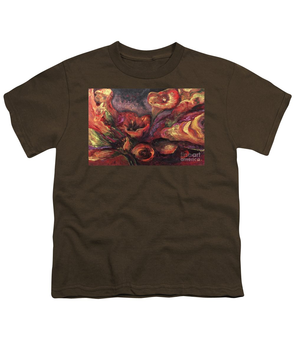 Calla Lilies Youth T-Shirt featuring the painting Floral Sun Worship by Nadine Rippelmeyer