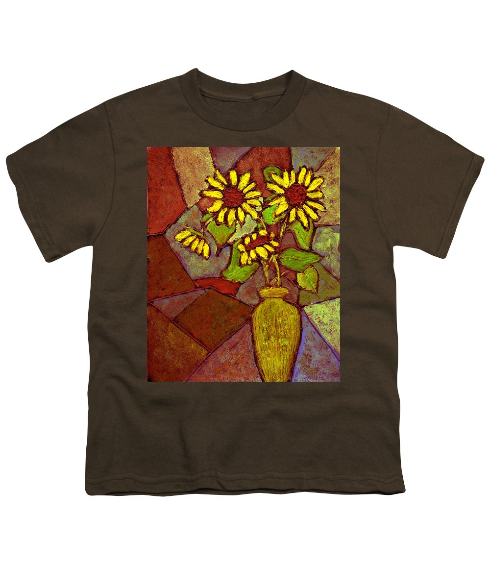 Sunflowers Youth T-Shirt featuring the painting Flowers In Vase Altered by Wayne Potrafka