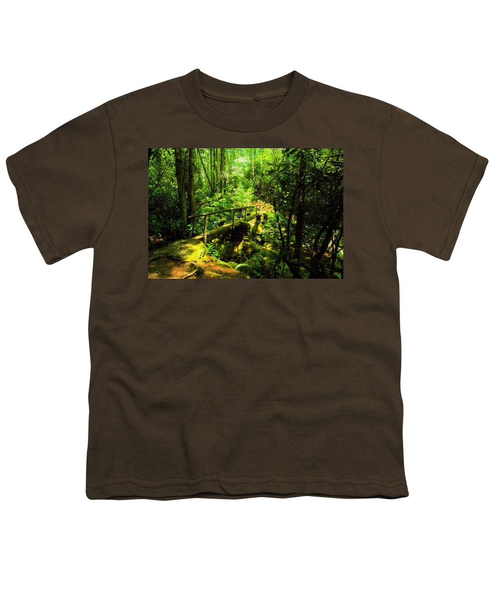 Art Youth T-Shirt featuring the painting Foot Bridge by David Lee Thompson