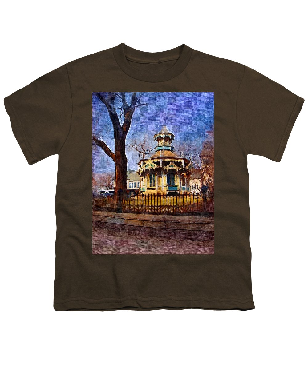 Architecture Youth T-Shirt featuring the digital art Gazebo And Tree by Anita Burgermeister