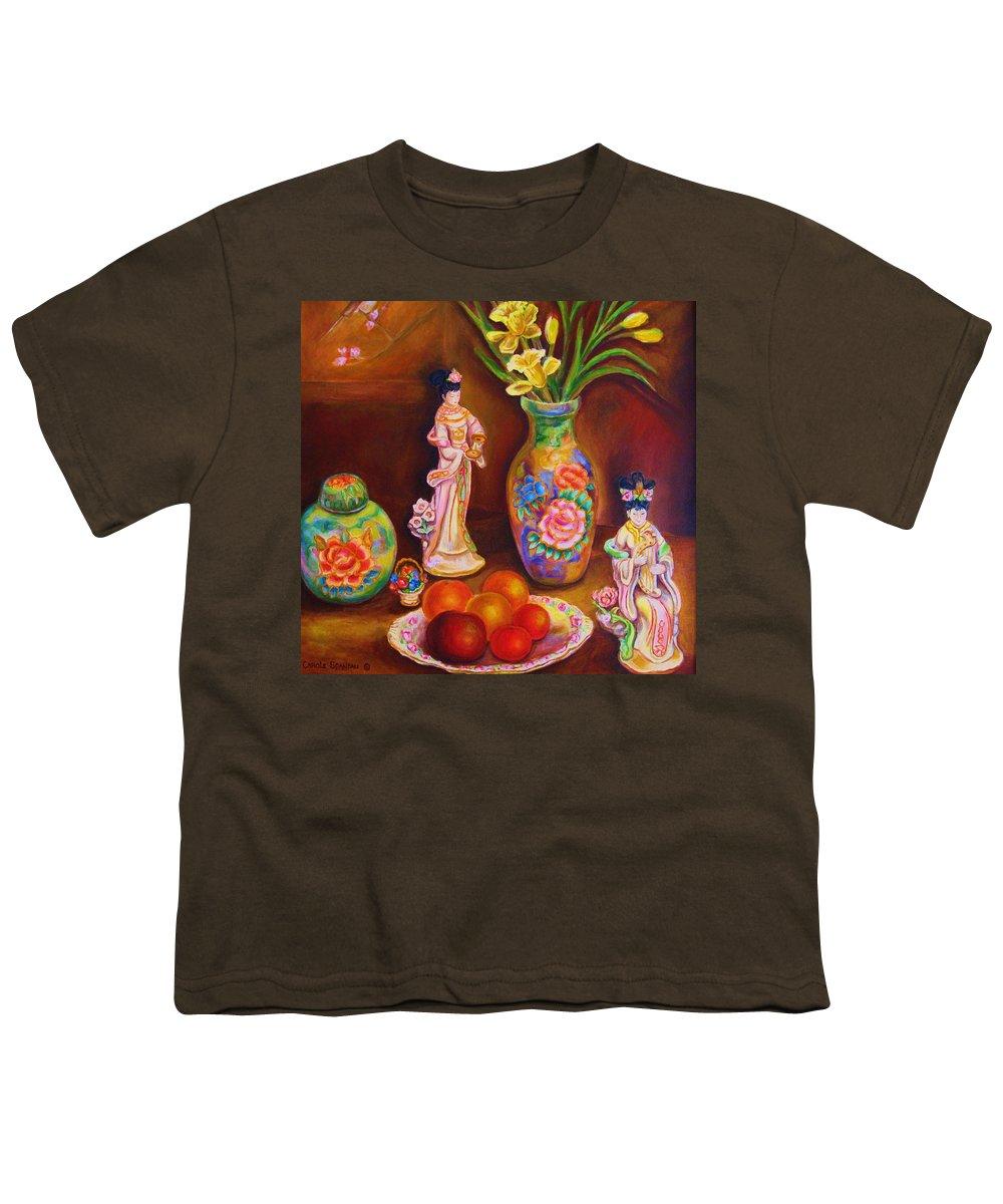 Geishas Youth T-Shirt featuring the painting Geisha Dolls by Carole Spandau
