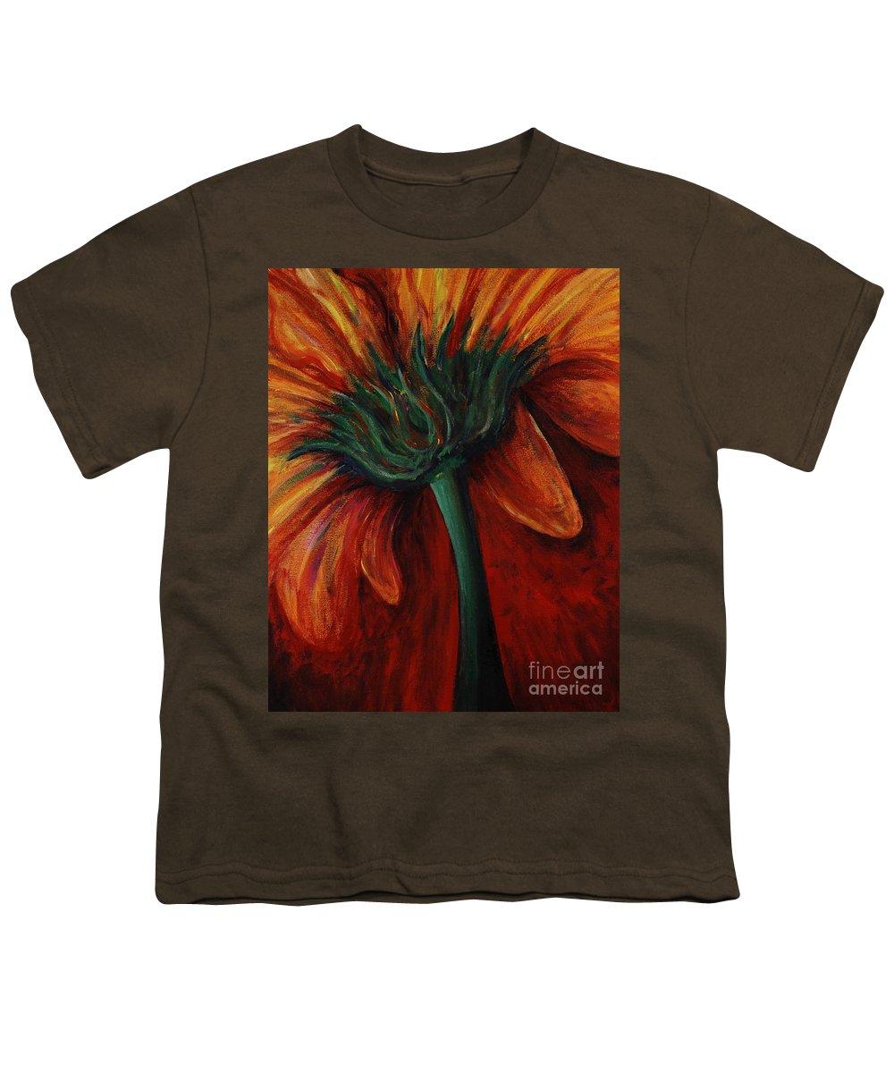 Gerbera Daisy.daisy Youth T-Shirt featuring the painting Gerbera Daisy by Nadine Rippelmeyer