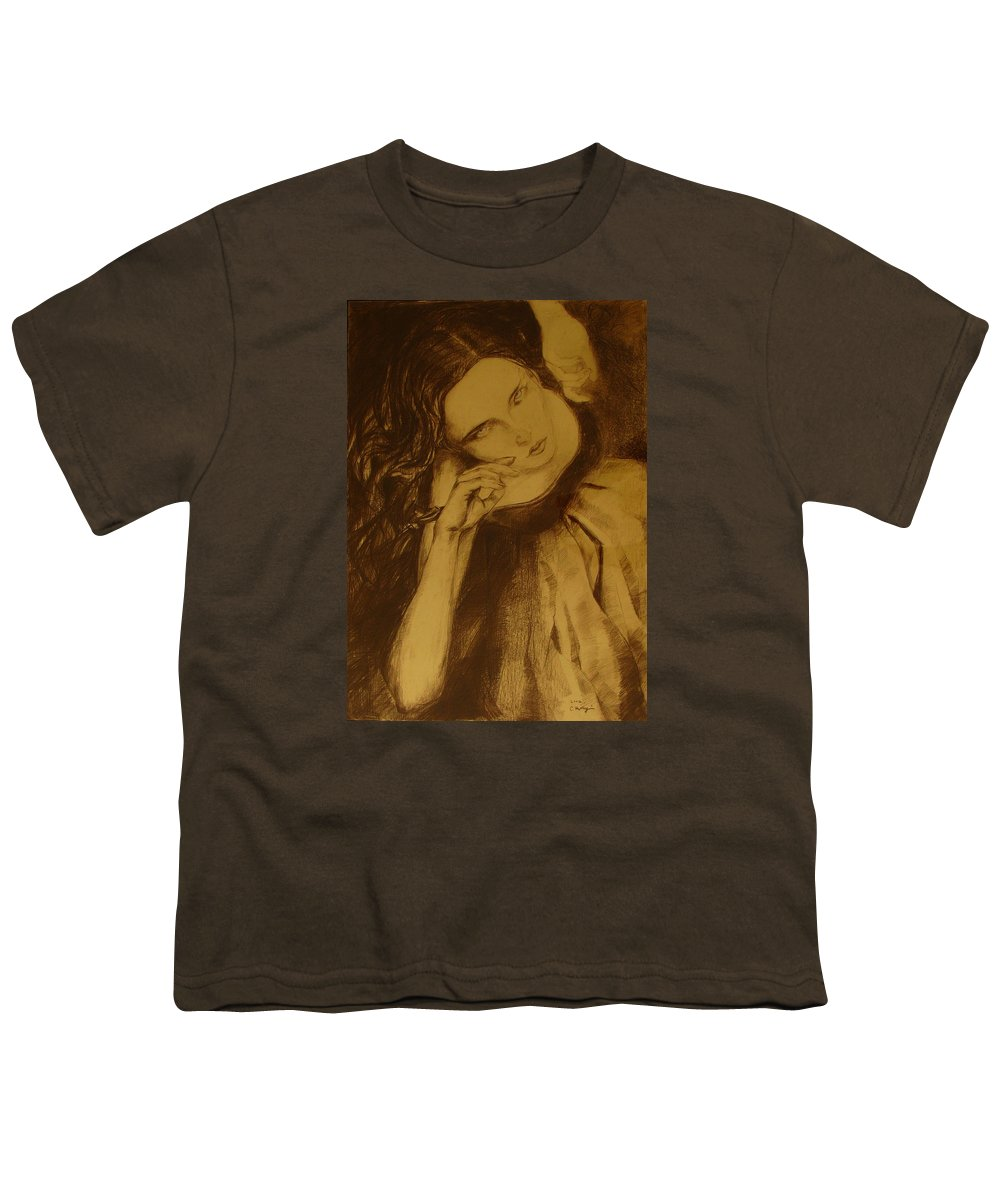 Art Drawings Youth T-Shirt featuring the drawing Girl Dancing by Cristina Rettegi