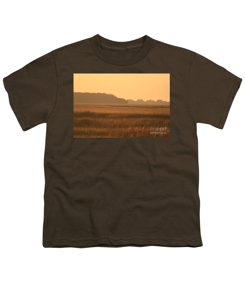 Marsh Youth T-Shirt featuring the photograph Golden Marshes by Nadine Rippelmeyer