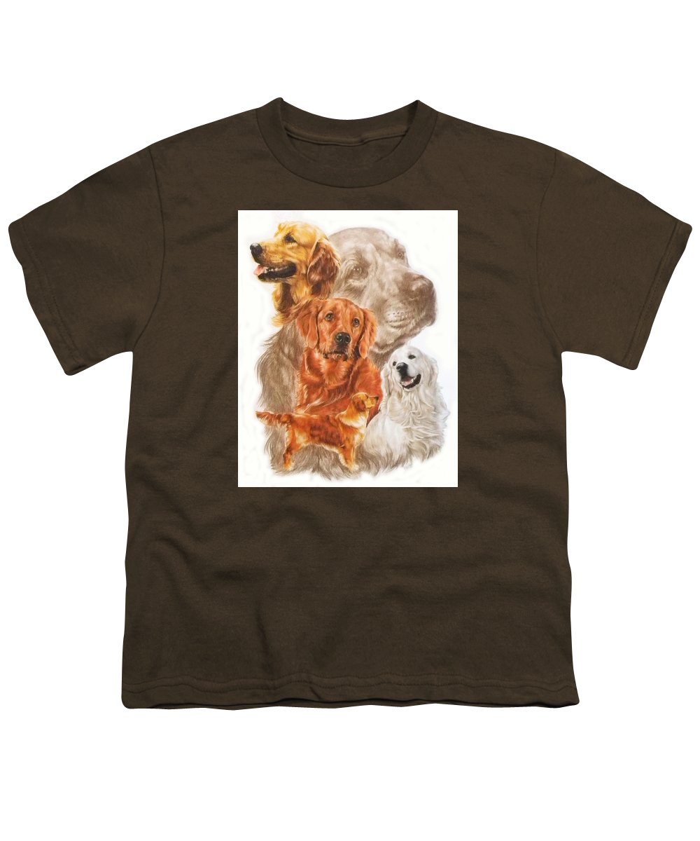 Retriever Youth T-Shirt featuring the mixed media Golden Retriever W/ghost by Barbara Keith