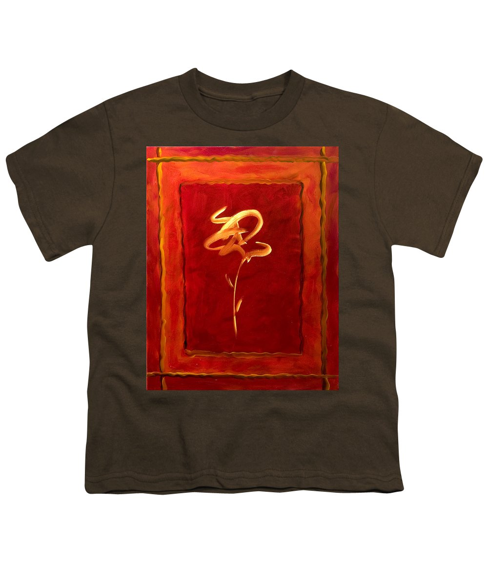 Abstract Flower Youth T-Shirt featuring the painting Gratitude by Shannon Grissom