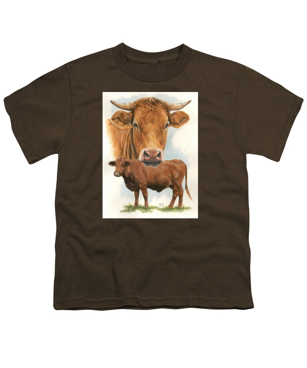 Cow Youth T-Shirt featuring the mixed media Guernsey by Barbara Keith