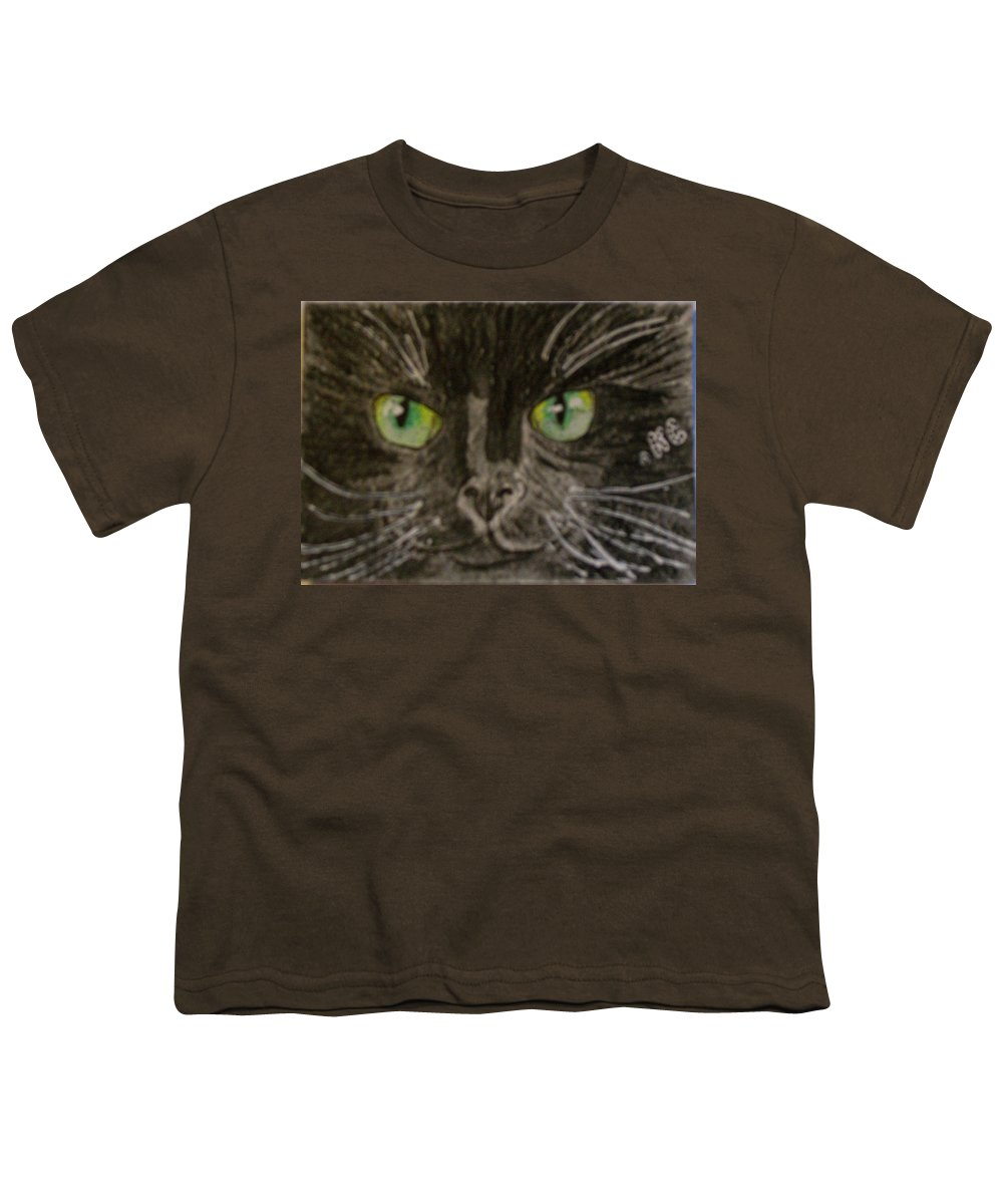 Halloween Youth T-Shirt featuring the painting Halloween Black Cat I by Kathy Marrs Chandler